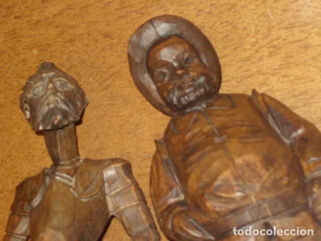 Antigüedades: ESTUPENDA TALLA DE MADERA DE DON QUIJOTE Y SANCHO PANZA.ARTESANIA OURO. - Foto 6 - 189584275