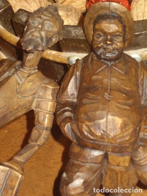 Antigüedades: ESTUPENDA TALLA DE MADERA DE DON QUIJOTE Y SANCHO PANZA.ARTESANIA OURO. - Foto 7 - 189584275