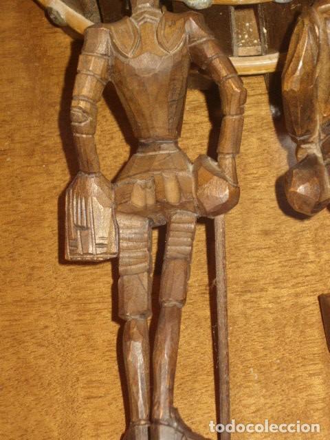 Antigüedades: ESTUPENDA TALLA DE MADERA DE DON QUIJOTE Y SANCHO PANZA.ARTESANIA OURO. - Foto 13 - 189584275
