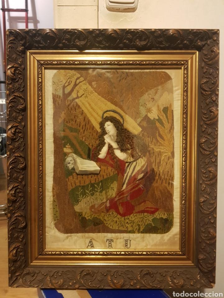 SEDA ANTIGUA BORDADA S.XVIII (Antigüedades - Religiosas - Varios)