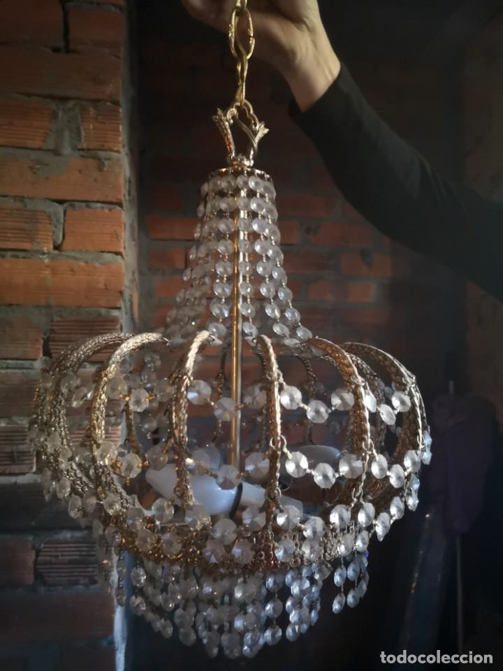LAMPARA COBRE Y CRISTALES DE ROCA (Antigüedades - Iluminación - Lámparas Antiguas)