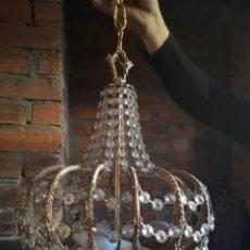 Antigüedades: LAMPARA COBRE Y CRISTALES DE ROCA. Lote 189587863
