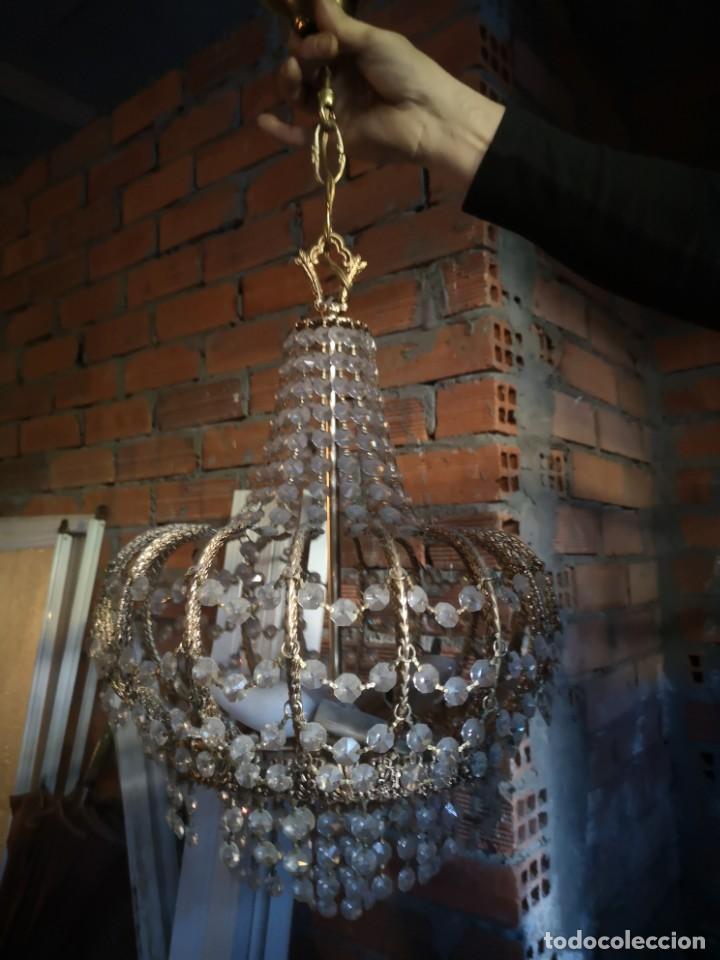 Antigüedades: lampara cobre y cristales de roca - Foto 7 - 189587863