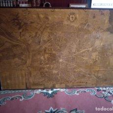 Antigüedades: CUADRO LÁMINA DE PAPEL MAPA MADRID ANTIGUO. Lote 210695699