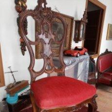 Antigüedades: SILLA TALLADA CON FALLO. Lote 189591590