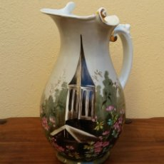 Antigüedades: GRAN JARRA DE AGUAMANIL PORCELANA FRANCESA LIMOGES. SELLO EN BASE W.G & C. Lote 189616470