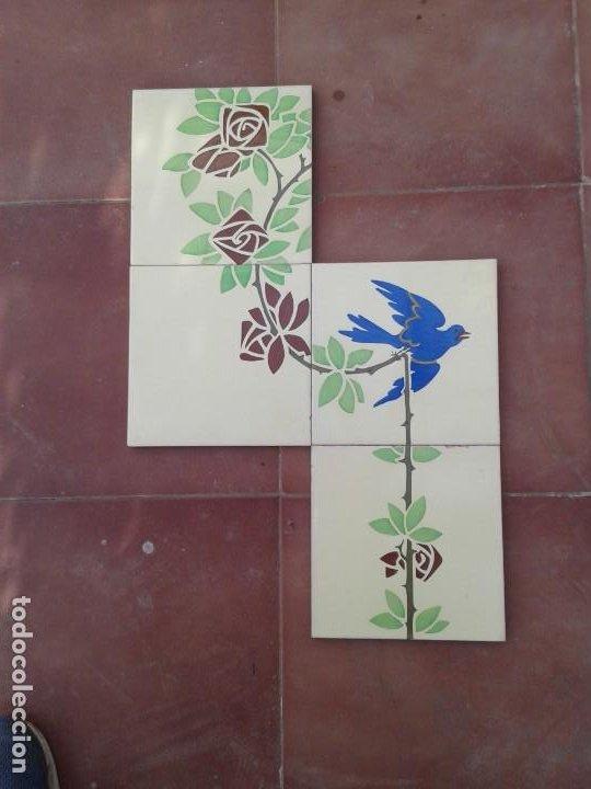 AZ-107A 4 AZULEJOS MODERNISTAS ART DECO (Antigüedades - Porcelanas y Cerámicas - Azulejos)