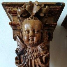 Antigüedades: PAREJA MENSULAS BARROCAS ANGELES DEL 18 NOGAL Y ROBLE ALTURA 42 CM. Lote 189687420