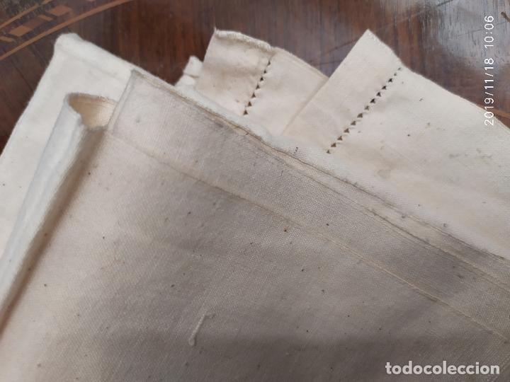 Antigüedades: PAR SABANAS ANTIGUAS GRUESAS DE ALGODON Y CAÑAMO PPS SIGLO XX - Foto 7 - 204013992
