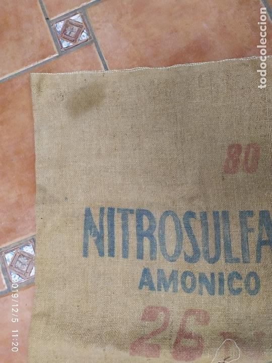 Antigüedades: SACO DE ARPILLERA DE NITROSULFATO AMONICO DE 80 kG 26N SEFANITRO BILBAO PPS SIGLO XX - Foto 2 - 189703203