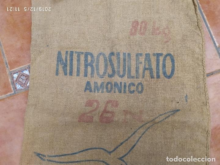 Antigüedades: SACO DE ARPILLERA DE NITROSULFATO AMONICO DE 80 kG 26N SEFANITRO BILBAO PPS SIGLO XX - Foto 3 - 189703203