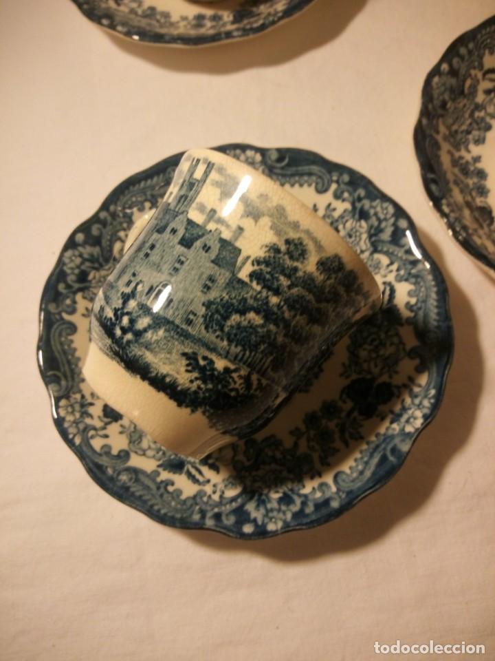 Antigüedades: Juego de cafe Royal Worcester Spode Avon Tea Cup & Saucer Palissy, England 1790 Avon Scenes - Foto 5 - 189743587