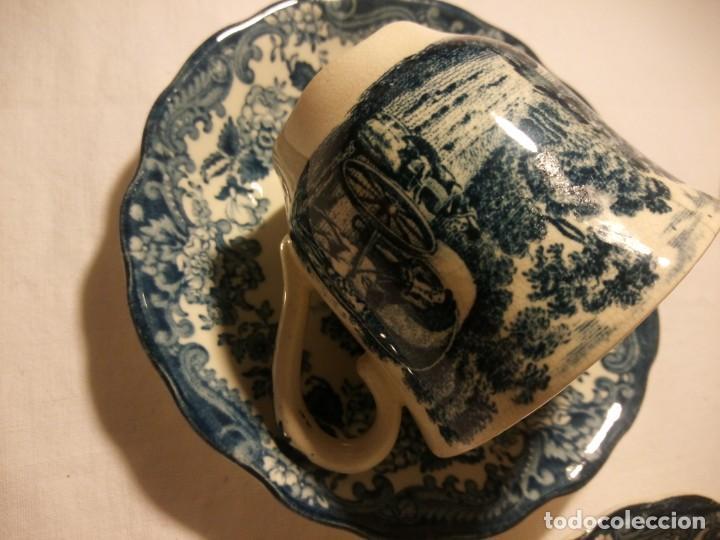 Antigüedades: Juego de cafe Royal Worcester Spode Avon Tea Cup & Saucer Palissy, England 1790 Avon Scenes - Foto 8 - 189743587