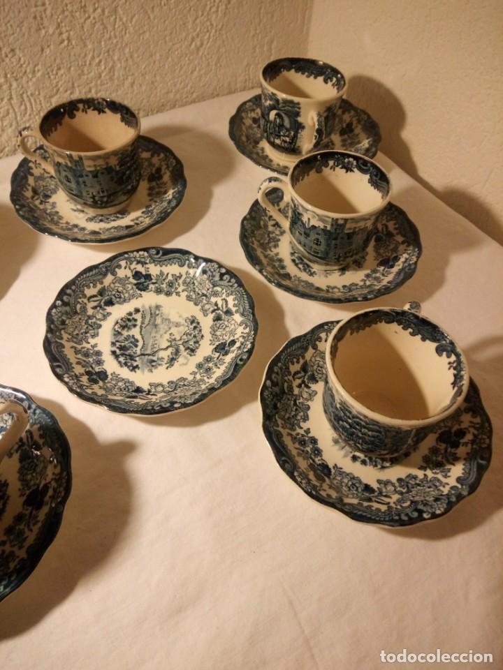 Antigüedades: Juego de cafe Royal Worcester Spode Avon Tea Cup & Saucer Palissy, England 1790 Avon Scenes - Foto 12 - 189743587