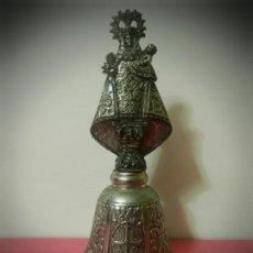 Antigüedades: CAMPANA VIRGEN EN METAL PLATEADO.. Lote 189769052