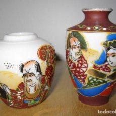 Antigüedades: ANTIGUA PAREJA JARRONES PORCELANA JAPONESA SATSUMA JAPÓN. Lote 189773143
