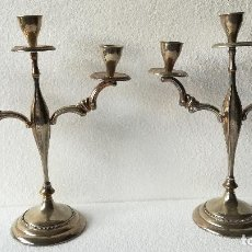 Antigüedades: CANDELABROS DE ALPACA DE TRES LUCES. Lote 189815888