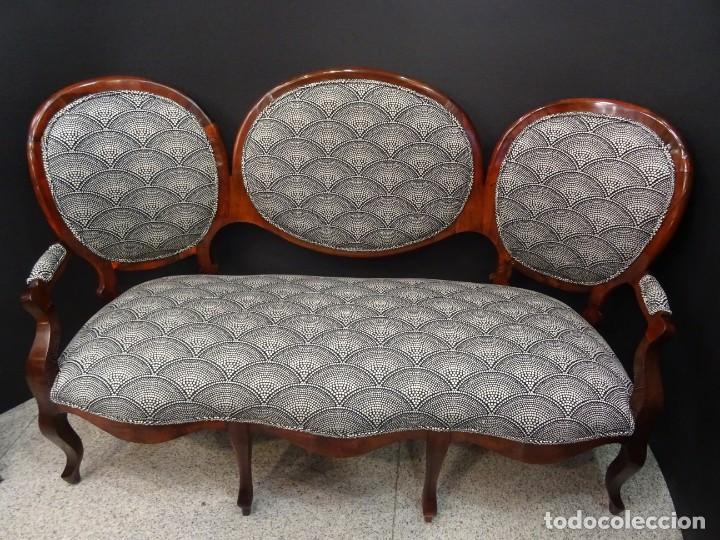 Antigüedades: Canapé Luis XV S.XIXen madera decaoba y recién tapizado por Cole&Son - Foto 2 - 188052595