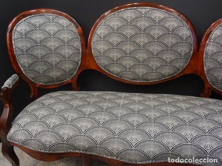 Antigüedades: Canapé Luis XV S.XIXen madera decaoba y recién tapizado por Cole&Son - Foto 3 - 188052595
