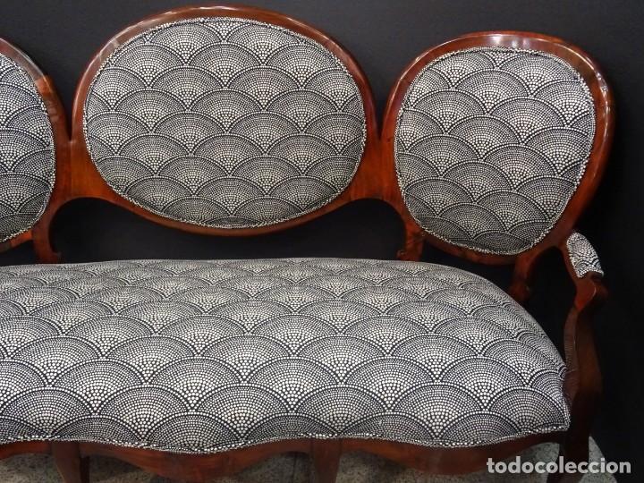 Antigüedades: Canapé Luis XV S.XIXen madera decaoba y recién tapizado por Cole&Son - Foto 4 - 188052595