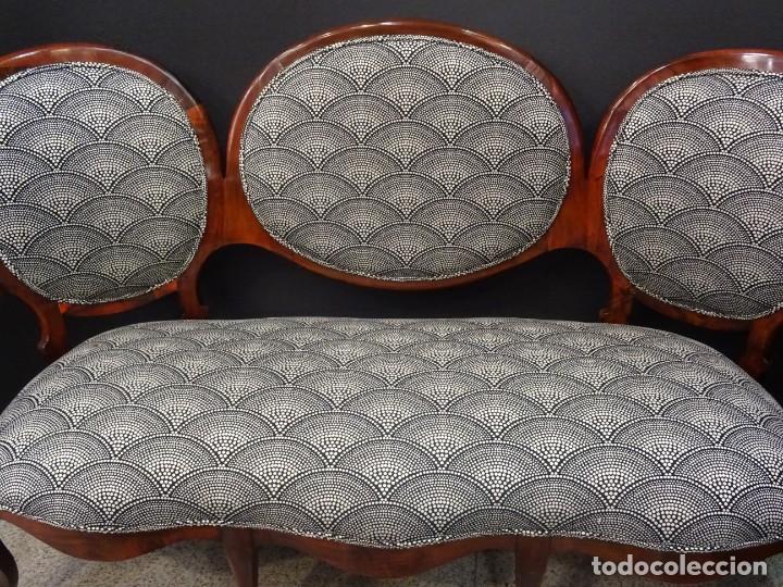 Antigüedades: Canapé Luis XV S.XIXen madera decaoba y recién tapizado por Cole&Son - Foto 5 - 188052595