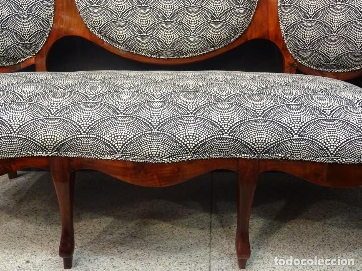 Antigüedades: Canapé Luis XV S.XIXen madera decaoba y recién tapizado por Cole&Son - Foto 12 - 188052595