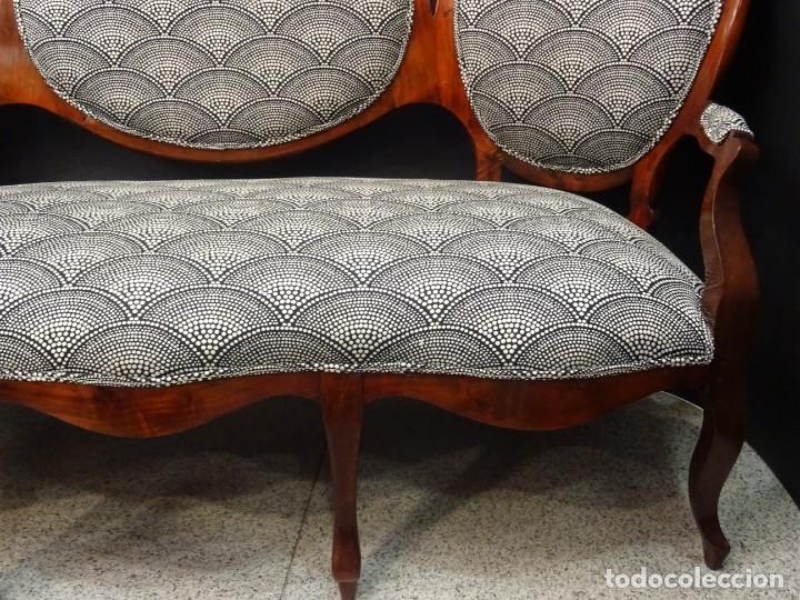 Antigüedades: Canapé Luis XV S.XIXen madera decaoba y recién tapizado por Cole&Son - Foto 13 - 188052595