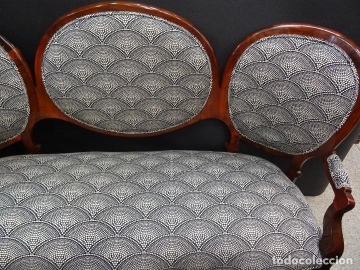 Antigüedades: Canapé Luis XV S.XIXen madera decaoba y recién tapizado por Cole&Son - Foto 23 - 188052595