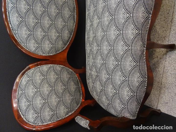 Antigüedades: Canapé Luis XV S.XIXen madera decaoba y recién tapizado por Cole&Son - Foto 24 - 188052595