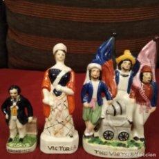 Antigüedades: ANTIGUAS FIGURAS VICTORIANAS DE PORCELANA STAFFORD DEL SIGLO XIX. Lote 189717127