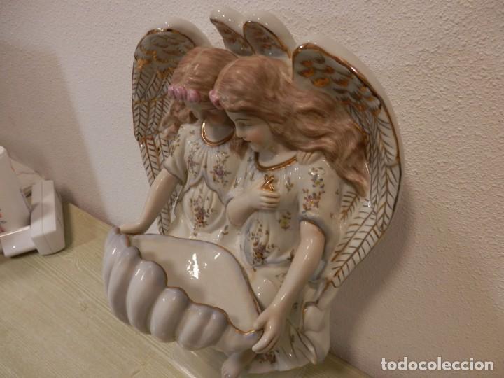 Antigüedades: BONITA BENDITERA CON ANGELES, GRANDE, 40 X 32 CM, PORCELANA MEISSEN R.B., 1ª MITAD DEL SIGLO XX - Foto 12 - 189899858