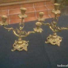 Antigüedades: PAREJA DE CANDELABROS BRONCE DECORACIÓN 3 LUCES. Lote 189899897