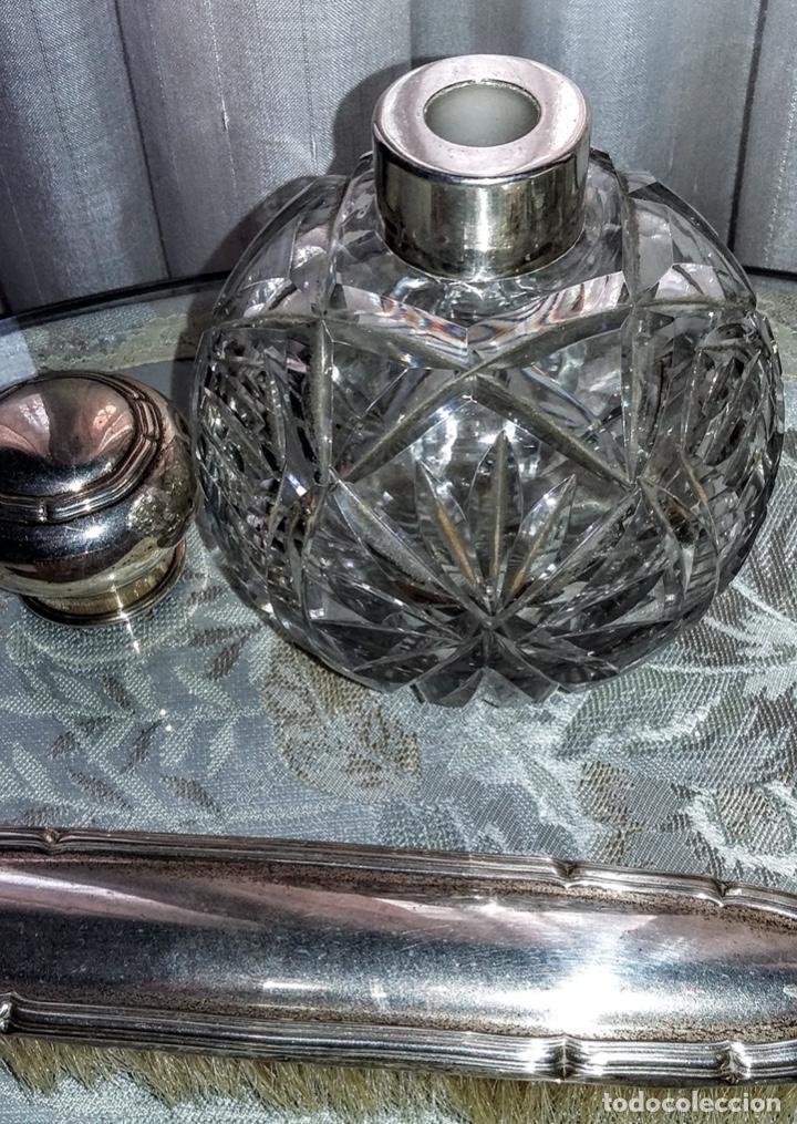 Antigüedades: Juego de plata para tocador. Mediados de S XX. 6 piezas - Foto 8 - 182856675