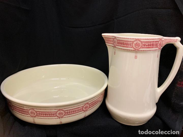 Antigüedades: Excepcional antiguo aguamanil, jarra y palangana, modernista, Art-Decó, gran tamaño, sello BOCH - Foto 4 - 189926413