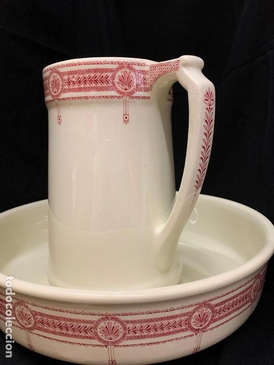 Antigüedades: Excepcional antiguo aguamanil, jarra y palangana, modernista, Art-Decó, gran tamaño, sello BOCH - Foto 15 - 189926413