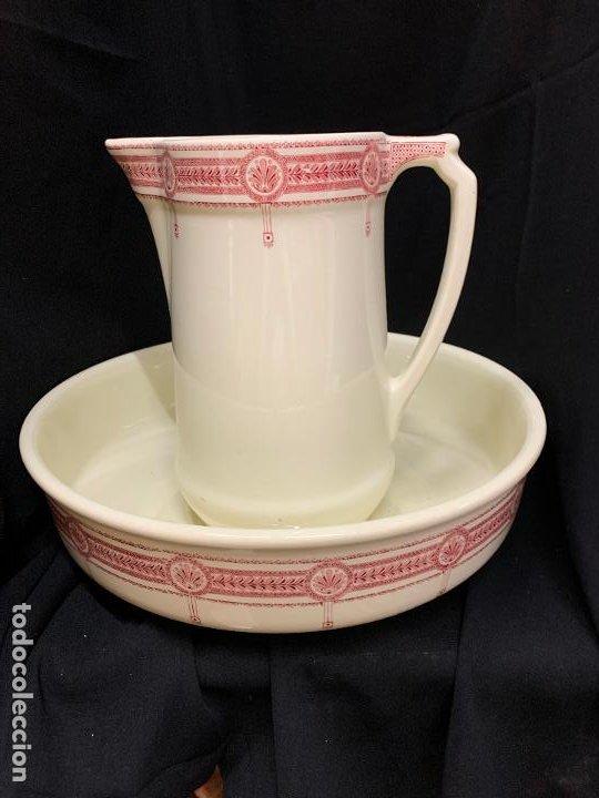 Antigüedades: Excepcional antiguo aguamanil, jarra y palangana, modernista, Art-Decó, gran tamaño, sello BOCH - Foto 16 - 189926413