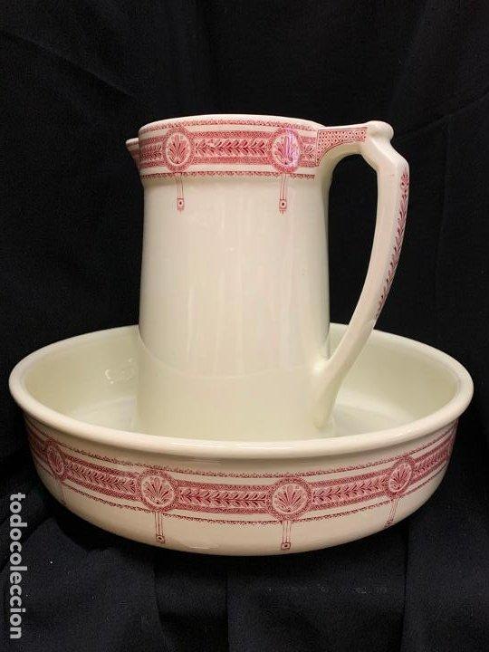 Antigüedades: Excepcional antiguo aguamanil, jarra y palangana, modernista, Art-Decó, gran tamaño, sello BOCH - Foto 19 - 189926413