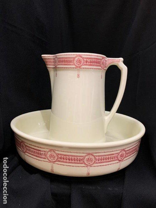Antigüedades: Excepcional antiguo aguamanil, jarra y palangana, modernista, Art-Decó, gran tamaño, sello BOCH - Foto 20 - 189926413