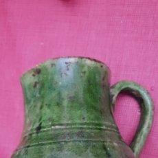 Antigüedades: ANTIGUA JARRA PORCELANA VIDRIADA VERDE UBEDA. Lote 189954681