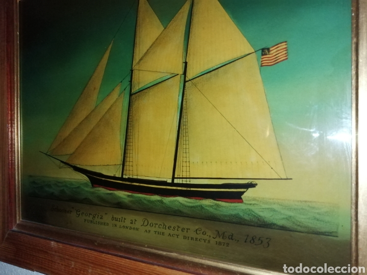 Antigüedades: Stunning antique Victorian reverse painted glass picture of the schooner Georgia - Foto 2 - 190010778