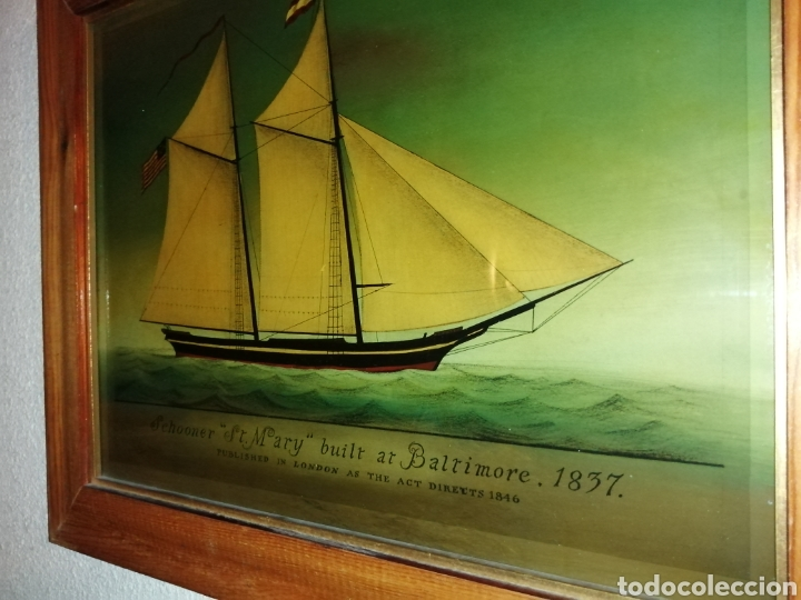 Antigüedades: Stunning antique Victorian reverse painted glass picture of the schooner Georgia - Foto 5 - 190010778