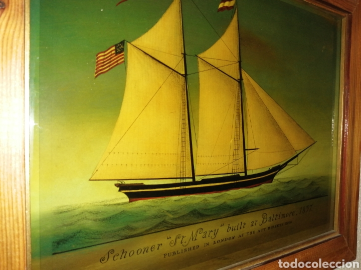 Antigüedades: Stunning antique Victorian reverse painted glass picture of the schooner Georgia - Foto 6 - 190010778