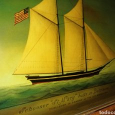 Antigüedades: STUNNING ANTIQUE VICTORIAN REVERSE PAINTED GLASS PICTURE OF THE SCHOONER GEORGIA. Lote 190010778