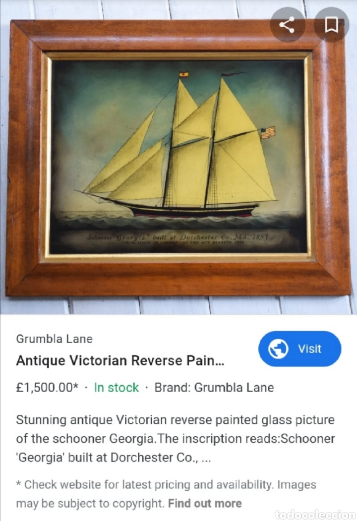 Antigüedades: Stunning antique Victorian reverse painted glass picture of the schooner Georgia - Foto 15 - 190010778