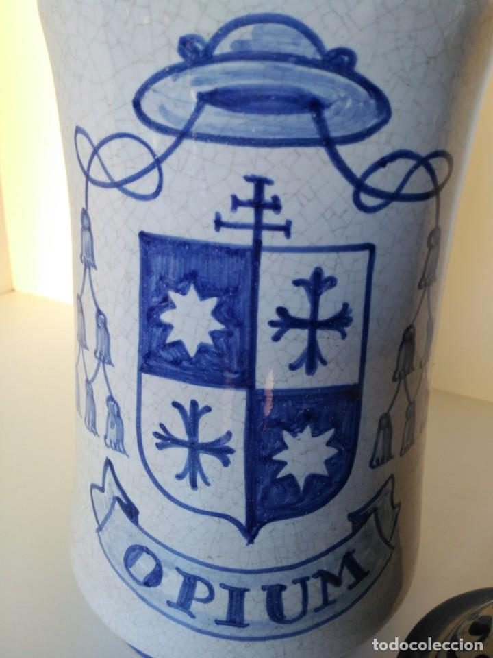 Antigüedades: Gran albarelo o tarro de farmacia, opium, puente del Arzobispo - Foto 2 - 190011781