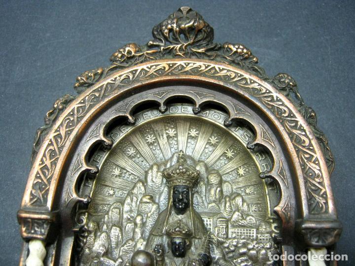 Antigüedades: Antigua gran benditera Virgen de Montserrat - varios metales columnas talladas en hueso - Foto 6 - 190040295