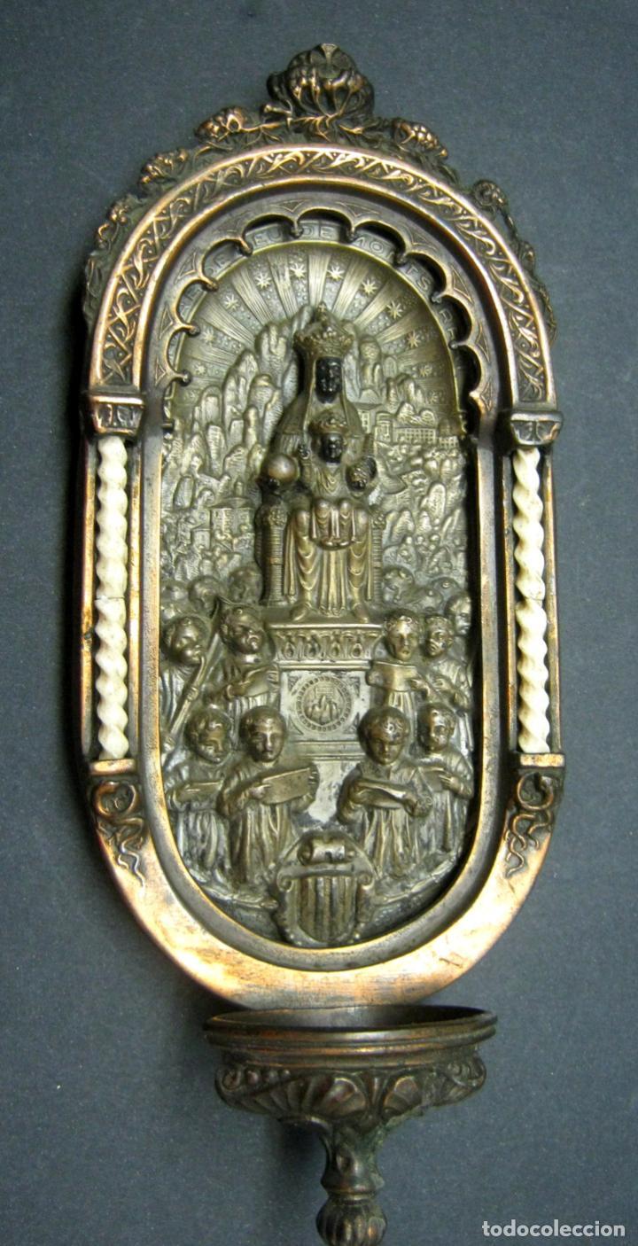 Antigüedades: Antigua gran benditera Virgen de Montserrat - varios metales columnas talladas en hueso - Foto 9 - 190040295