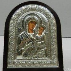Antigüedades: ICONO EN PLATA VIRGEN CON NIÑO. Lote 190047840