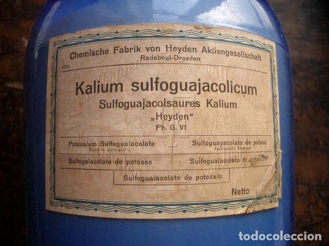 ANTIGUA BOTELLA CRISTAL ( 35CM ) GUAYACOLSULFONATO POTÁSICO PROCEDENTE DE ALEMANIA. AÑOS 20 (Antigüedades - Cristal y Vidrio - Farmacia )
