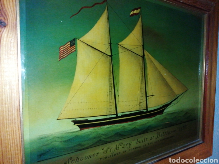 Antigüedades: Stunning antique Victorian reverse painted glass picture of the schooner Georgia - Foto 7 - 190010778